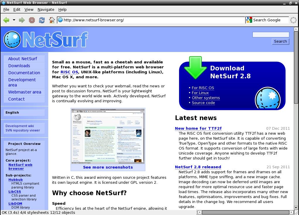 NetSurf 3.0 - Скриншот 1